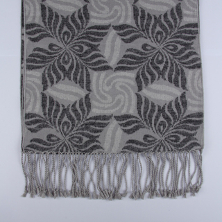 Grey/Silver Patterned Brushed Silk Scarf-0