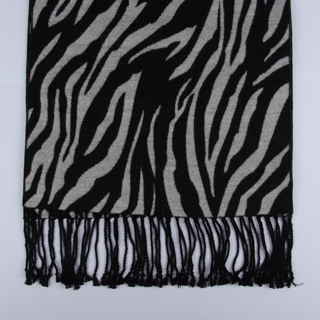 Black/Silver zebra Brushed Silk Scarf-0