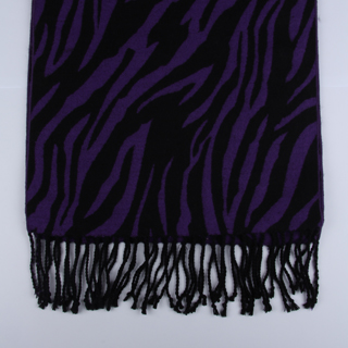 Black/Purple zebra Brushed Silk Scarf-0