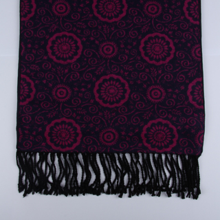 Black/Cerise Floral Brushed Silk Scarves-0