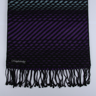 Black/Purple/Blue Striped Brushed Silk Scarf-0