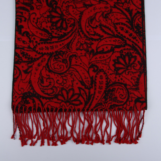 Black/Red Paisley Brushed Silk Scarf-0