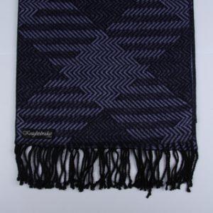 Purple / Black Patterned Brushed Silk Scarf-0