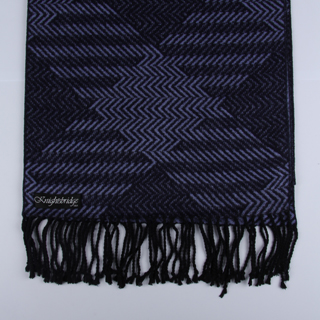 Purple / Black Patterned Brushed Silk Scarf-0