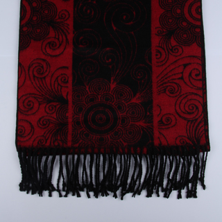 Black/Red Floral Brushed Silk Scarves-0