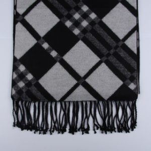 Black/White Checked Brushed Silk Scarves-0