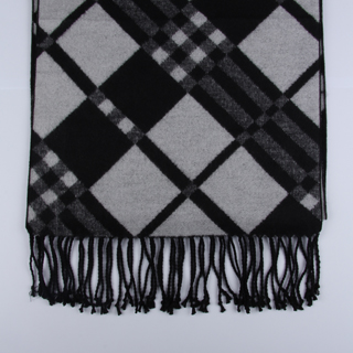 Black/White Checked Brushed Silk Scarves-0