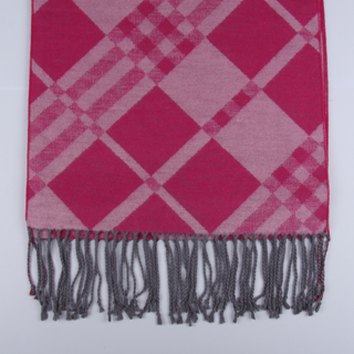 Pink/Hot Pink Checked Brushed Silk Scarf -0