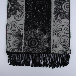 Black/Silver Floral Brushed Silk Scarf-0