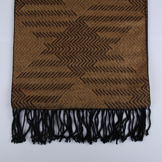 Brown Patterned Brushed Silk Scarves-0