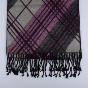 Grey/Pink Tartan Brushed Silk Scarf-0