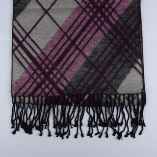Grey/Pink Tartan Brushed Silk Scarf-0