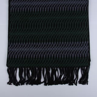 Black/Green/Grey Patterned Brushed Silk Scarf-0