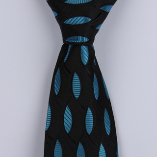 Black/Blue Oval XL Woven Poly Tie-0