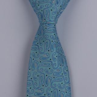 Aqua/Blue Paisley XL Woven Poly Tie-0