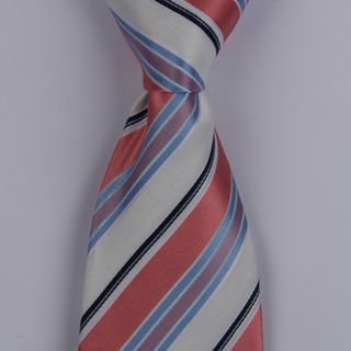 White/Red Striped XL Woven Poly Tie