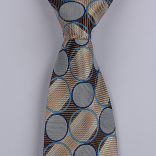 Brown/Beige/Blue Circles XL Woven Poly Tie-0