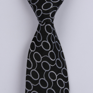 Black/Silver Links XL Woven Poly Tie