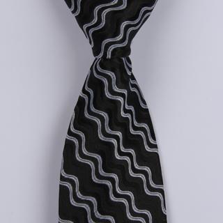 Black/Silver Wave XL Woven Poly Tie-0