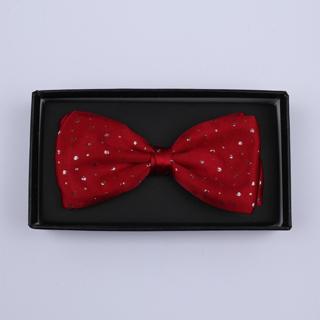 Red Sparkly Silk / Lurex Bow Tie-0