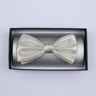 White Silk / Lurex Bow Tie-0