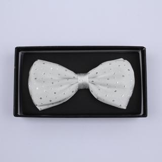 White Sparkly Silk / Lurex Bow Tie-0