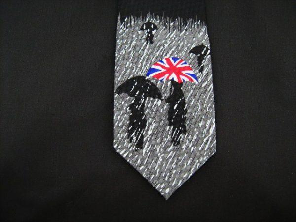 British Weather and Union Jack Umbrella silk tie-0