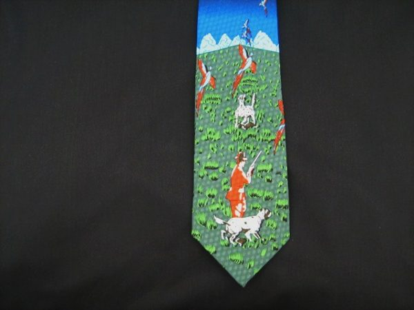 shooting country themed silk tie -0