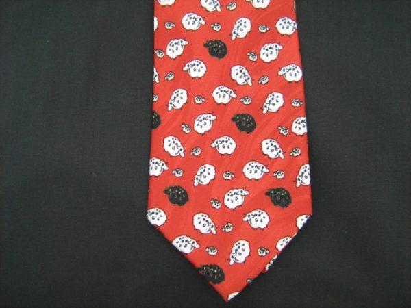 Black and White Sheep silk tie-0