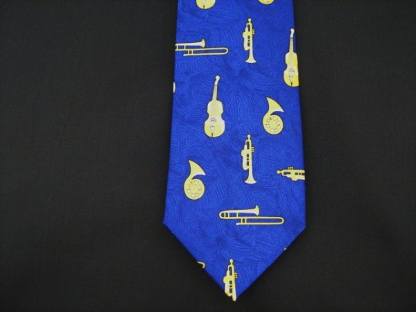 Blue and Yellow Musical Instruments silk tie-0