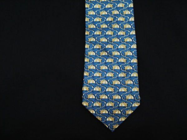 blue Doctor's bag and stethoscope silk tie-0