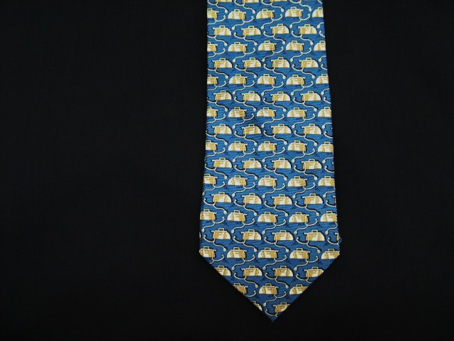 blue Doctor's bag and stethoscope silk tie