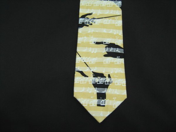 Yellow music score sheet silk tie -0