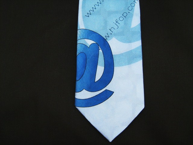 blue internet themed silk tie