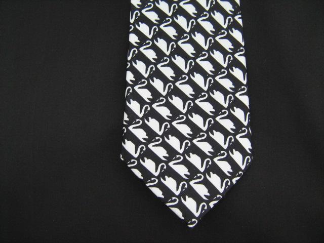 white swans silk tie