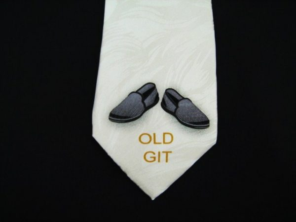 Old Git and Slippers silk tie -0