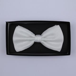 Plain White Bow Tie-0