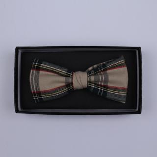 Beige/Red/green Tartan Bow Tie-0