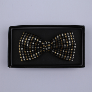Black/Silver/Gold Squares Bow Tie