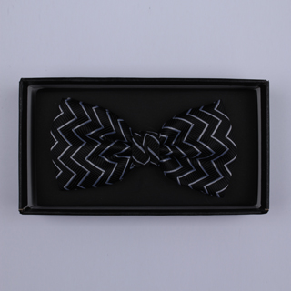 Black/White Zig-Zag Bow Tie-0