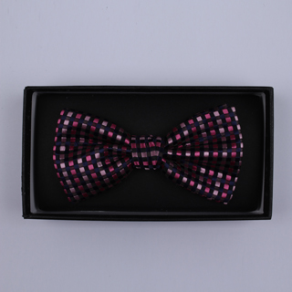 Black/Pink grid Bow Tie-0