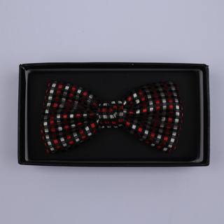 Black/Silver/Red Squares Bow Tie