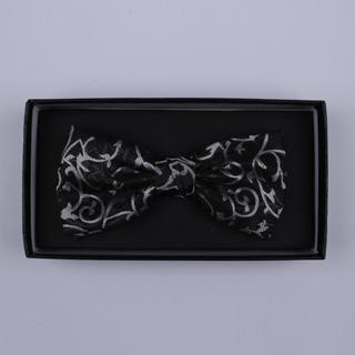 Black/silver Floral Bow Tie-0