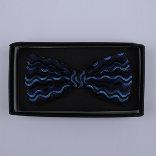 Black/Blue Waves Bow Tie-0