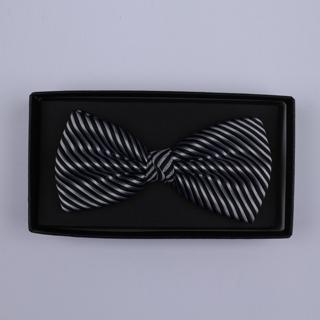 Black/Silver Diagonal Stripes Bow Tie-0