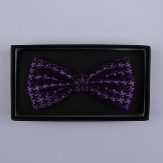 Black/Purple houndstooth Bow Tie-0