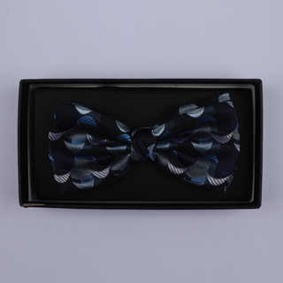 Blue/Grey Crescents Bow Tie-0