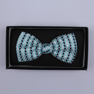 Blue/Black/White Squares Bow Tie-0
