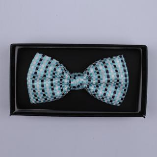 Blue/Black/White Squares Bow Tie