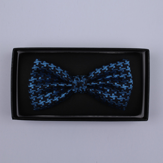 Black/Blue large houndstooth Bow Tie